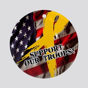support troops button updates Round Ornament