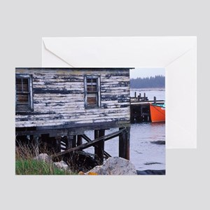 Hunts Point. Lobster boats at dock i Greeting Card