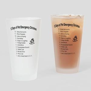 Pet Emergency Christmas Design Drinking Glass