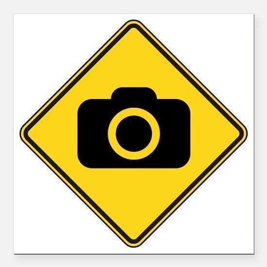 "warningSignPhotographer Square Car Magnet 3"" x 3"""