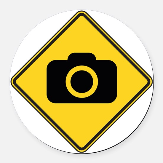 warningSignPhotographer Round Car Magnet