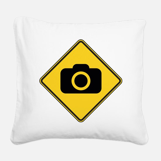 warningSignPhotographer Square Canvas Pillow