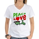 Peace Love Motor Scooter Women's V-Neck T-Shirt