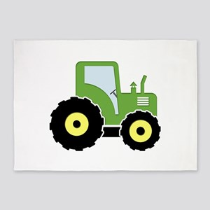 Green toy tractor 5'x7'Area Rug