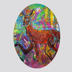 Oh Deer God Oval Ornament