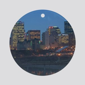 Edmonton: Downtown Skyline / Evenin Round Ornament