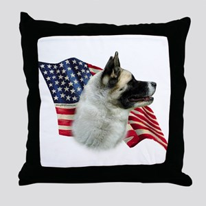 Akita Flag Throw Pillow