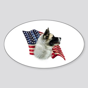 Akita Flag Oval Sticker