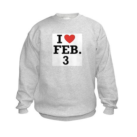 I Heart February 3 Kids Sweatshirt