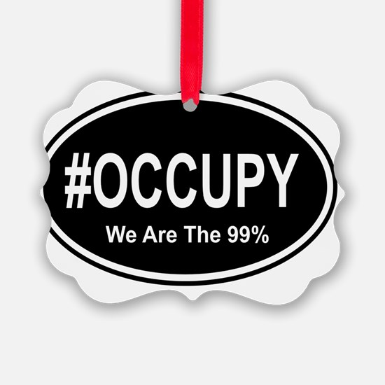 911 oval sticker we are the 99%.  Picture Ornament