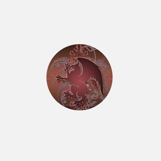 urban griffin grunge red Mini Button