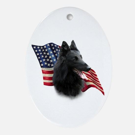 Belgian Sheepdog Flag Oval Ornament