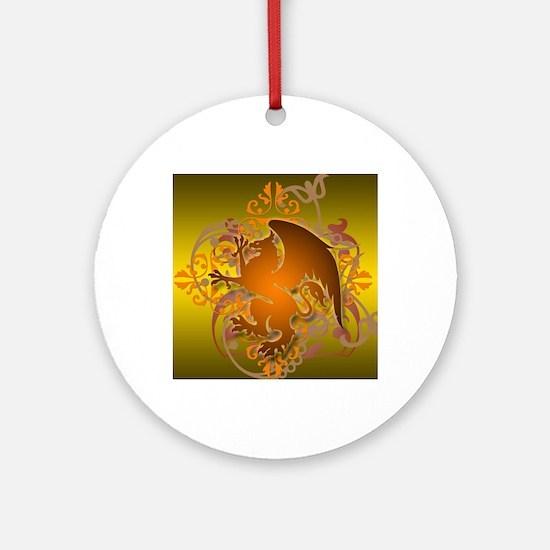 urban griffin orange tie die Round Ornament