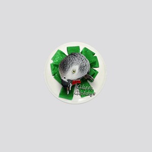 African Grey Parrot Christmas  Mini Button