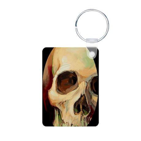 Skull_WarmGlow_Oval Aluminum Photo Keychain