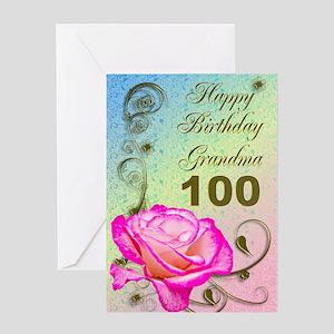 100th birthday card for grandma, Elegant rose Gree
