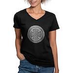 Celtic Cross Women's V-Neck Dark T-Shirt