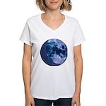 Celtic Knotwork Blue Moon Women's V-Neck T-Shirt