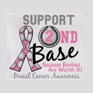 - Support 2nd Base Breast Cancer Throw Blanket