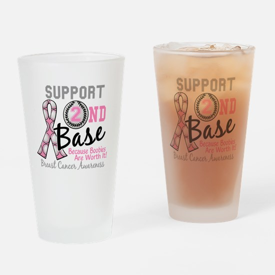 - Support 2nd Base Breast Cancer Drinking Glass