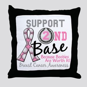- Support 2nd Base Breast Cancer Throw Pillow