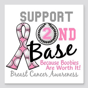 """- Support 2nd Base Breas Square Car Magnet 3"""" x 3"""""""
