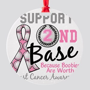 - Support 2nd Base Breast Cancer Round Ornament