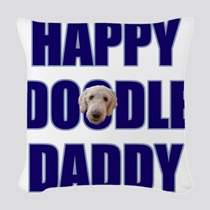 FIN-happy-doodle-daddy Woven Throw Pillow