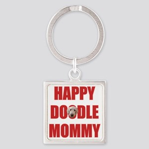 Happy Doodle Mommy Square Keychain