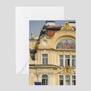 Historic district, Czech Republic, P Greeting Card