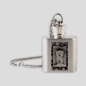 Xmas Card Polar Cub (snow) 2 Flask Necklace