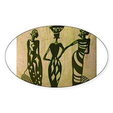 3 Sistas (Green) Oval Sticker