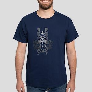 Skull & Sword Floral Dark T-Shirt