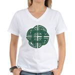 Celtic Four Leaf Clover Women's V-Neck T-Shirt