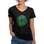 Celtic Four Leaf Clover Women's V-Neck Dark T-Shir