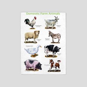Domestic Farm Animals 5'x7'Area Rug