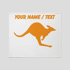 Custom Orange Kangaroo Throw Blanket