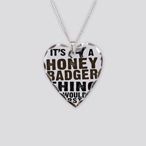 Honey Badger Thing Necklace Heart Charm