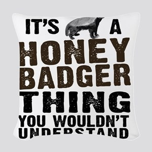 Honey Badger Thing Woven Throw Pillow