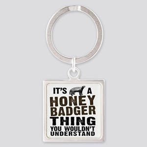 Honey Badger Thing Square Keychain