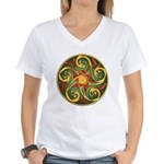 Celtic Pentacle Spiral Women's V-Neck T-Shirt