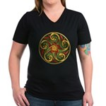 Celtic Pentacle Spiral Women's V-Neck Dark T-Shirt