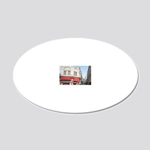 Shoppers crowd the sidewalks 20x12 Oval Wall Decal