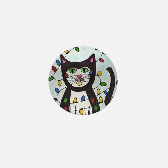 cat in christmas lights Mini Button