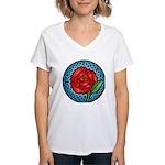 Celtic Rose Stained Glass Women's V-Neck T-Shirt