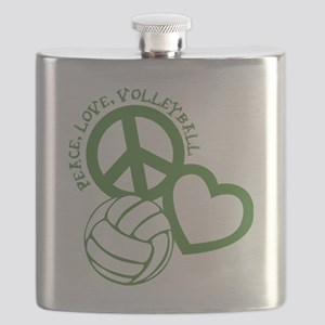 peace love volleyball, green top, roughage Flask