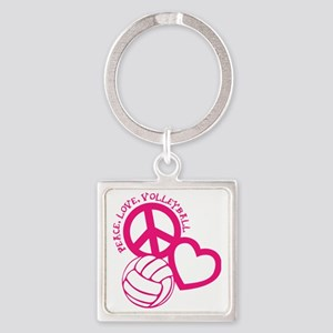 peace love volleyball, melon top,  Square Keychain