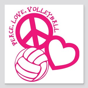 "peace love volleyball, m Square Car Magnet 3"" x 3"""