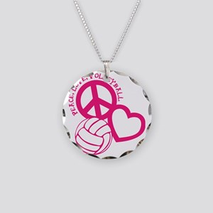 peace love volleyball, melon Necklace Circle Charm