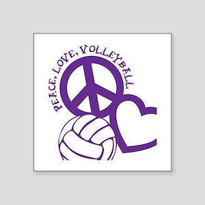 "peace love volleyball, purp Square Sticker 3"" x 3"""